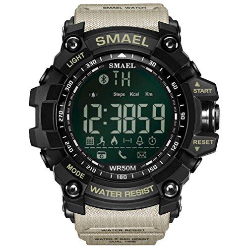 ZXZ-GO Sportuhren Bluetooth Smart Watch Herren Analog Digital Schrittzähler Herzfrequenz Stoppuhr Chronograph Alarm Kalender Leucht Android und Ios, Khaki