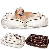 Smoothy Hundekorb aus Leder; Hunde-Körbchen; Hundebett für Luxus Vierbeiner; Beige-Weiß Größe L (106x74cm)