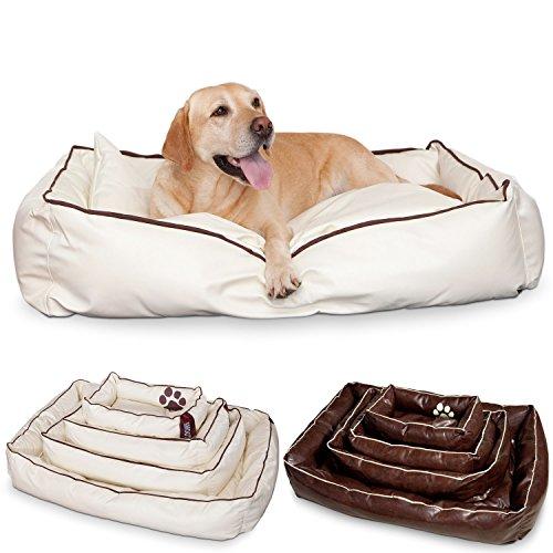 SMOOTHY Hundekorb Hundebett aus Leder Hunde-Körbchen Kissen für Hunde und Katzen aus extrem robusten & kratzfesten Kunstleder schmutzresistent und wasserabweisend (L - 106 x 74 cm, Beige-Weiß)