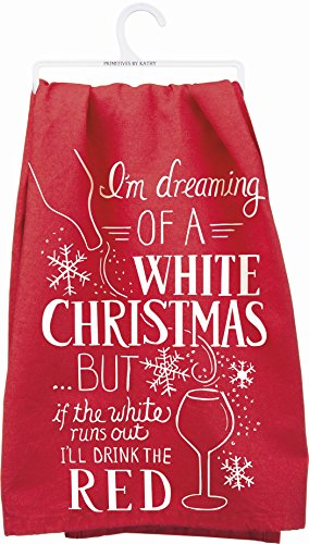 Red and White Kitchen Towel with Christmas Theme