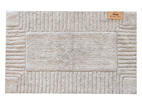 Alfombra de baño, alfombra de ducha de 50 x 80 cm, suave, 100% algodón, lavable a máquina, color gris perla