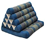 Wifash Cojín triangulo tailandés, con colchoneta Plegable, Kapok, Playa, Piscina, Fabricado en thailande, Azul/Gris con Elefantes (81701)
