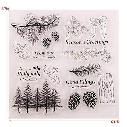 Winter Trees Branch Leaves Pine Cones Bow Clear Rubber Stamps for Card Making and Scrapbooking Christmas Wishes Words Silicone Stamps (T1641)