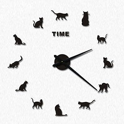 wsqyf Creative Wall Clock Simple Cat DIY Clock Living Room Art Individuality Acrylic,D