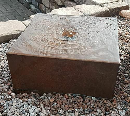 LCSA Gartenbrunnen Brunnenquader 80/80/40 cm Roststahl Cortenstahl Gartenbrunnen Quader Würfel