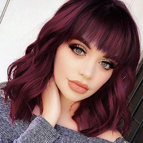 AISI BEAUTY Short Wavy Bob Wig with Bangs Shoulder Length Burgundy Synthetic Bob Curly Wigs for Women Natural Looking Heat Resistant Fiber Hair