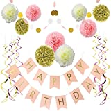 LITAUS Birthday Decorations, Pink and Gold Happy Birthday Decorations for Women, Happy Birthday Banner, Hanging Swirls, Paper Garlands for 1 Birthday Decorations, Birthday Party, Girls Birthday
