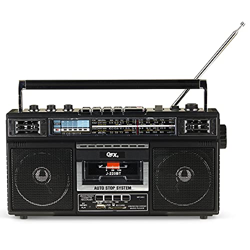 """QFX J-220BT ReRun X Cassette Player/Recorder Boombox 4-Band (AM, FM, SW1, SW2) Bluetooth Portable Recording Boombox with Dual 3"""" Speakers, Built-in Microphone, 3-Band Equalizer"""
