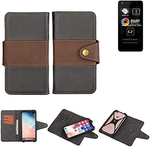 K-S-Trade® Handy-Hülle Schutz-Hülle Bookstyle Wallet-Case Für -Allview A9 Lite- Bumper R&umschutz Schwarz-braun 1x