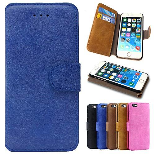 MPG Handytasche für Samsung Galaxy Alpha, Handyhülle Flip Hülle Tasche Schutzhülle, Vintage, Blau