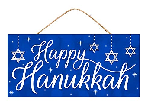 Festive Happy Hanukkah Wooden Sign - 12.5' x 6', Royal Blue and White, Grey Stars of David, Jewish Festival of Lights, Chanukah Decoration, Kitchen, Winter Decor, Front Door, Patio, Classroom, Office