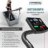 Kinetic Sports KST2500FX Laufband klappbar elektrisch flach leiser Elektromotor 500 Watt bis 120 kg, GEH- und Lauftraining, Lauffläche 36 cm breit, stufenlos einstellbar bis 10 km/h, 8 Programme - 4