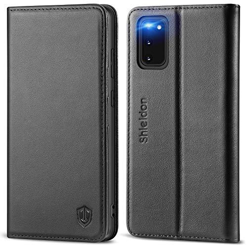SHIELDON Galaxy S20 Hülle, Stoßfeste Handyhülle [100% Rindsleder] [RFID Schützt], TPU Schutzhülle [Kartenfach] [Magnetverschluss] [Stand], Lederhülle Kompatibel für Samsung Galaxy S20 5G (6,2) Schwarz