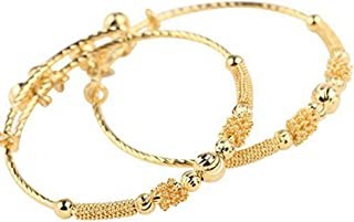 24k Yellow Gold Plated Baby's Bracelet Adjustable Children's Bangle(2pcs/lot)