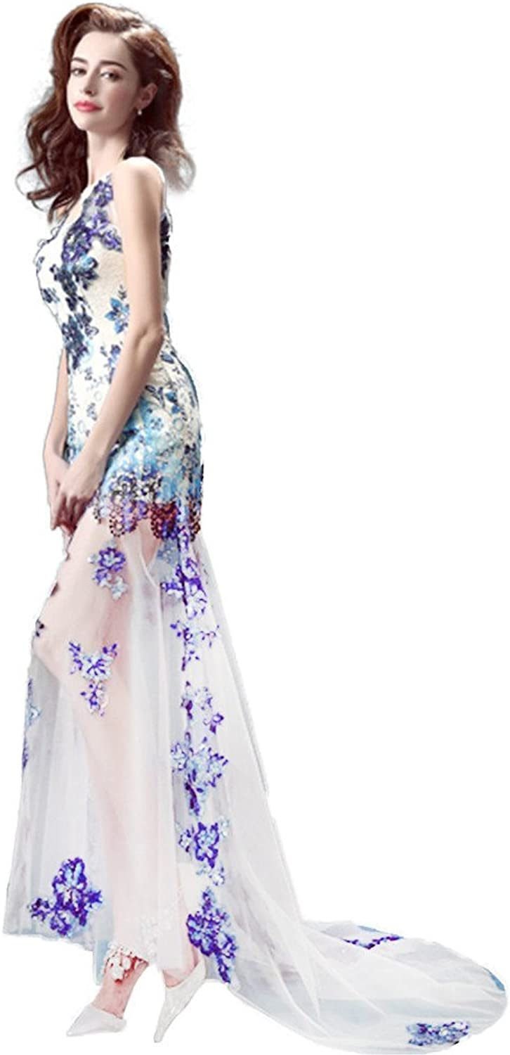Drasawee Women Front Short Long Back Evenig Dress Train Tulle Homecoming Prom Gowns