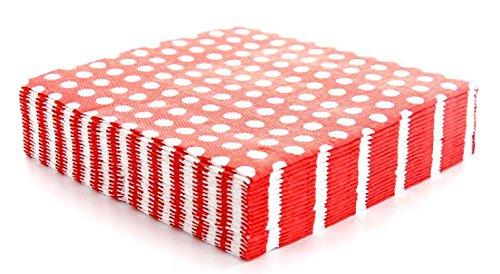 Mondial-fete - 20 serviettes rouges à pois blancs - 33 x 33 cm