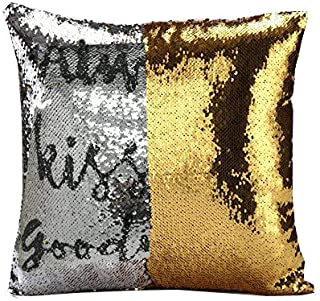 MOCOFO Flip Sequins Pillow for Girl Boy Gift Always Kiss Me Goodnight Sparkly Throw Pillowcases Funny Magic Mermaid Cushion Cover Sequins Fidget Toy Relieve Stress 16x16Inches