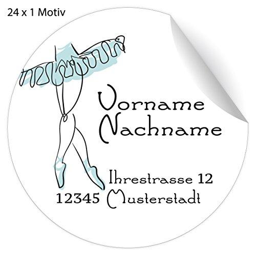 24 fraaie balletadres-stickers met ballerina in een deur, lichtblauw, mat papier sticker met hun tekst voor geschenken, universele etiketten, naamborden voor tafeldecoratie, school, pakketten, brieven (4,5 cm) 5x24 Aufkleber