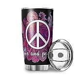 YxueSond Peace & Love - Vaso de acero inoxidable con revestimiento de polvo duradero y aislado con tapas para acampada y viajes, acero inoxidable, Blanco, 600ml ( 20oz )