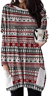 Vestido Estilo Camiseta de Manga Larga con Estampado de Cuadros navideños de SDJYH