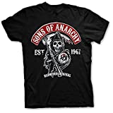 Sons of Anarchy Camiseta con Logo Samcro SOA T-Shirt - Oficial Original (Negro, Large)