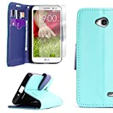 CoverON for LG Optimus L70 Exceed 2 Realm Pulse Ultimate 2 L41C Teal/Navy Wallet Flip Pouch Stand Phone Cover Case + Screen Protector
