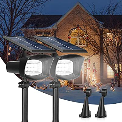 2pack, Solar Lights Outdoor, LED Solar Landscape Spotlights, HOKEKI Solar Powered Wall Lights, 2in1 Wireless Adjustable Security Decoration Lighting for, IP67 Waterproof, Lighting of courtyards