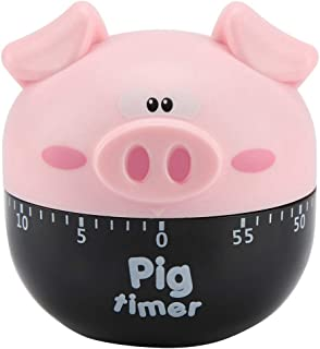 Cute Cartoon Pig Kitchen Timer Mechanical Timers Counters for Cooking Timing Tool Alarm Clock Portable Alarm Clock Kitchen Cooking Tool(Pink)