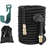FIXKIT Garden Hose Flexible Hose Water Hose 8 Function Extendable Hose Elastic Flexible for Irrigation and Garden Cleaning Black (30m)