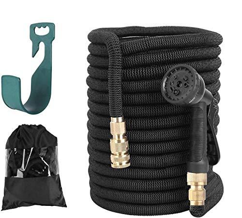FIXKIT Gartenschlauch Flexibler Schlauch Wasserschlauch Dehnbar Erweiterbar mit 3-Fach Latexkern Gewebe Multifunktionsbrause für jeden Wasserhahn mit Gewinde Beschläge aus Reinem Messing(23M Schwarz)
