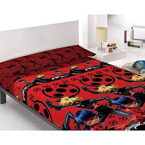 Zag Lady Bug - Set di lenzuola per bambini, 100% cotone, colore: rosso, 90 cm