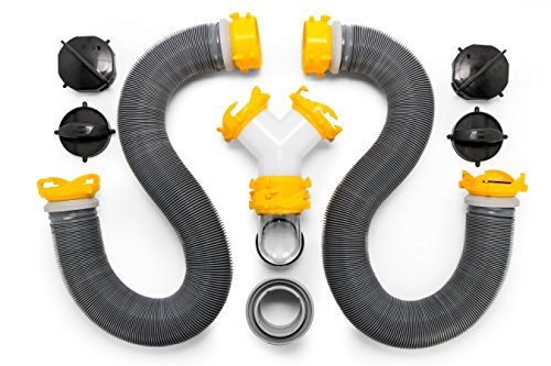 Camco 39666 Deluxe 20' Sewer Hose Kit with Swivel Fittings and Wye Connector - Ready To Use Kit Complete with Sewer Wye and Elbow Fittings, Hoses, and Storage Caps