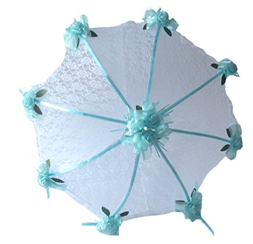 "Decorated Bridal Shower Wedding White Lace Umbrella Parasol 36"" Aqua Blue Roses"