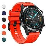 YHC Correas para Huawei Watch GT2/GT2 Classic/GT2 Pro 46mm,Compatible con Huawei Watch GT 2e/GT Sport Active 46mm(04-Rojo)