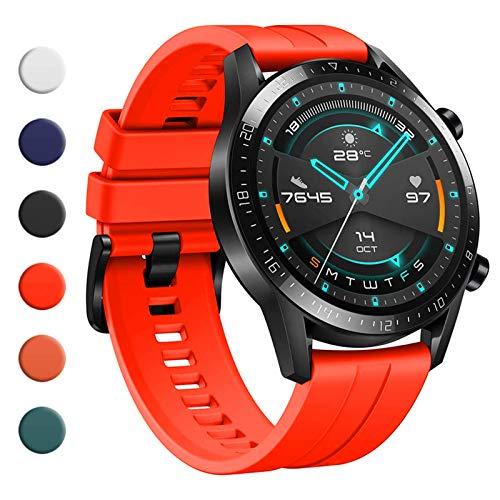 YHC Cinturino per Huawei Watch GT 2 / GT 2e 46mm,Compatibile con Huawei Watch GT/GT Active 46 mm (04-Rosso)