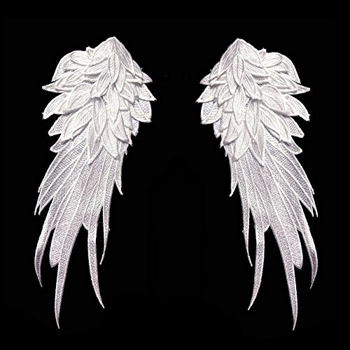 1Pair White Embroidered Angel Wings 15.8X6.2 inch (White-L)