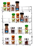 Buckingham 4 Tier Back Spice Jar and Packet Rack-Wall Mounted Shelf Organiser, Metal, Chrome, Suitable for 500 mm + Cupboard Door, 41.5 cm X 6.2 cm X 50 cm