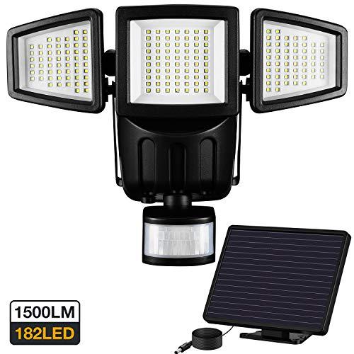 Solarlampen für Außen - Außenleuchte Sicherheitsleuchte Bewegungsmelder Flutlicht,1500 Lumen 182 LED Solarlicht Solarlampe, 5 Meter Kabel Hauseingang, 3-fach Leuchte Solarleuchte, Wasserdicht IP65