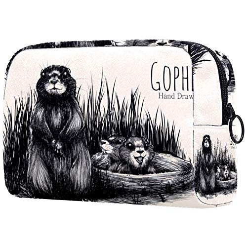 Bolsa de maquillaje bolsa de aseo de viaje, nailon resistente al agua,Patrón lindo de tejón de miel de dibujos animados