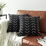 Nestinco Set of 2 Black Pillow Covers 18 x 18 inches Boho Aztec Polyester Blend Square Decorative Throw Pillow Covers for Sofa Couch Bed Decor