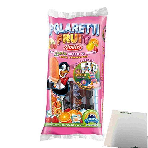 Dolfin Polaretti Fruit Con Tanto Succo Di Frutta (10x40ml Wassereis mit Fruchtsaft) + usy Block