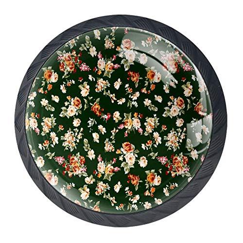 Maniglie per cassetti dorate, 4 pezzi, maniglie per armadietto da cucina, decorazione con fiori verde scuro