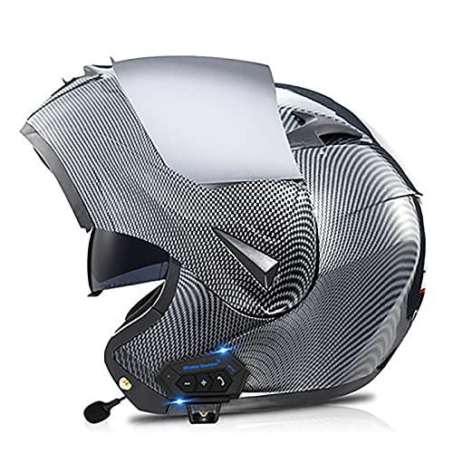 YLXD Bluetooth Casco De Moto Modular Integrado Casco De Scooter Antivaho con Doble Visera De Cara Completa Aprobado por ECE/Dot con Función De Respuesta Automática Unisex C,XL