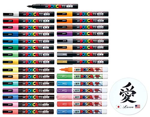 Uni Posca Paint Marker Mitsubishi Poster Color All Color Marking Pen Fine Point PC-3M 31 Color Set 17 Standard & 7 Natural & 7 Glitter With Kanji LOVE Sticker