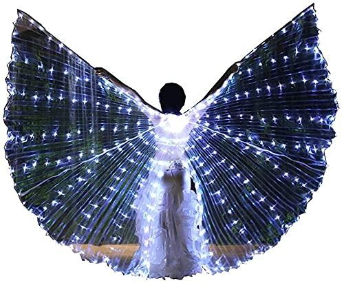 wsbdking DIRIGIÓ ISIS Wings ADULTURADOR ADULTIVO IRIDESCENTE Danza Danza Danza Buenca Danza DIRIGIÓ Alas de ISIS con Palos/Varillas (Color: luz Blanca, tamaño: m)