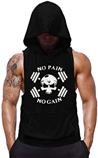 SZKANI Mens Skull Print Sleeveless Fitness Vest Bodybuilding Stringers Workout Tank Tops