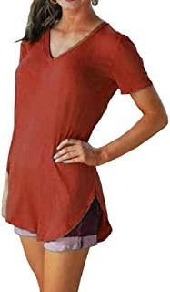 MK988 Womens V-Neck Pure Color Loose Fit Casual Short Sleeve Top Blouse T-Shirt