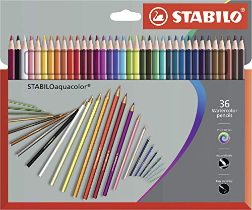 Matita colorata acquarellabile - STABILOaquacolor - Astuccio da 36 Grey Design - Colori assortiti