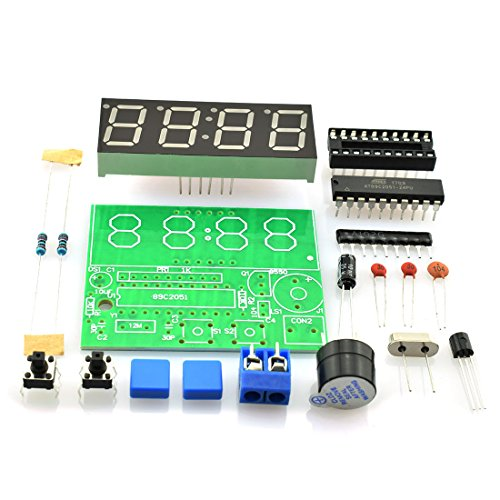 """HJ Garden 0.56"""" C51 4 Bits Digital Electronic Clock AT89C2051 SCM Electronic Production Suite DIY Kits Welding Practice Learning Kits Red LED"""