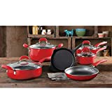 The Pioneer Woman Vintage Speckle 10-Piece Non-Stick Pre-Seasoned Cookware Set (Turquiose) (Red)